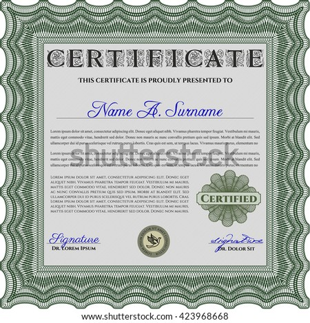 Certificate or diploma template. Cordial design. Customizable, Easy to edit and change colors. Easy to print. Green color.