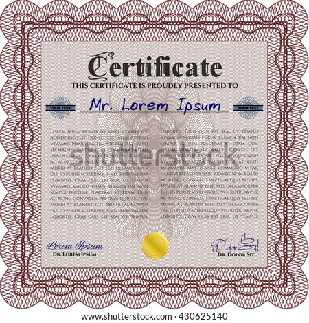 Certificate or diploma template. Cordial design. Customizable, Easy to edit and change colors. Easy to print. Red color.