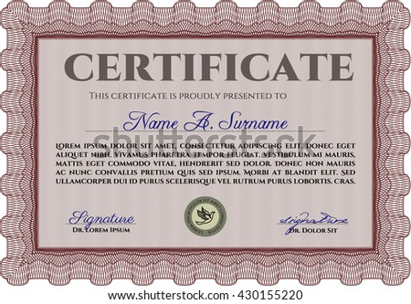 Certificate or diploma template. Cordial design. Easy to print. Customizable, Easy to edit and change colors. Red color.