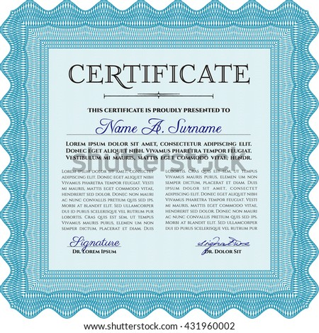 Certificate or diploma template. Cordial design. Easy to print. Customizable, Easy to edit and change colors. Light blue color.