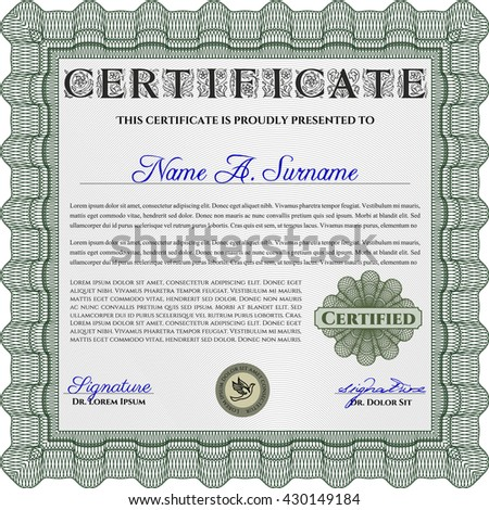Certificate or diploma template. Customizable, Easy to edit and change colors. Cordial design. Easy to print. Green color.