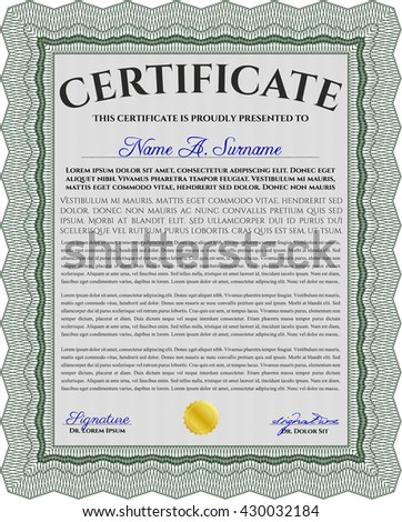 Certificate or diploma template. Customizable, Easy to edit and change colors. Easy to print. Cordial design. Green color.