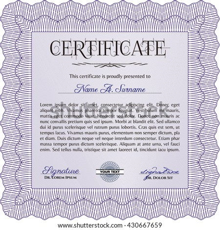 Certificate or diploma template. Customizable, Easy to edit and change colors. Easy to print. Cordial design. Violet color.