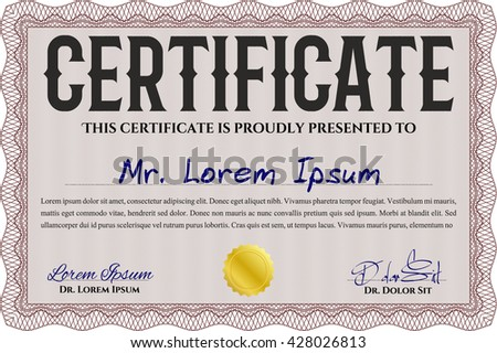 Certificate or diploma template. Easy to print. Cordial design. Customizable, Easy to edit and change colors. Red color.