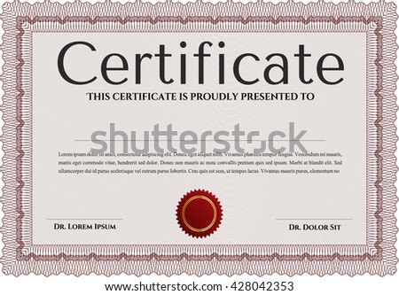 Certificate or diploma template. Easy to print. Customizable, Easy to edit and change colors. Cordial design. Red color.