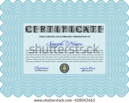 Certificate or diploma template. Easy to print. Customizable, Easy to edit and change colors. Cordial design. Light blue color.