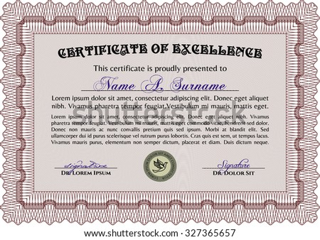 Certificate or diploma template. Vector pattern that is used in currency and diplomas.Excellent design. With guilloche pattern.