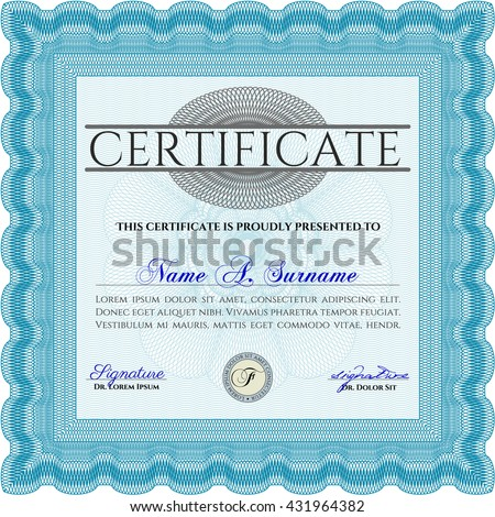 Certificate or diploma template. With background. Good design. Border, frame. Light blue color.