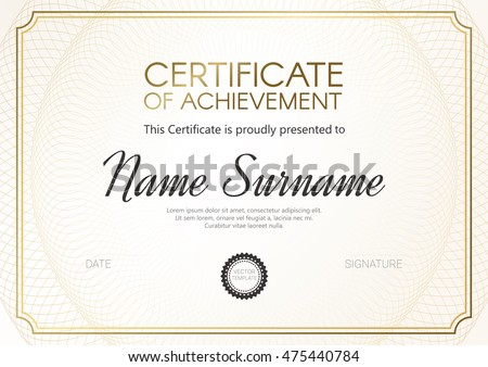 Certificate or diploma template with elegant golden design. Vector illustration.
