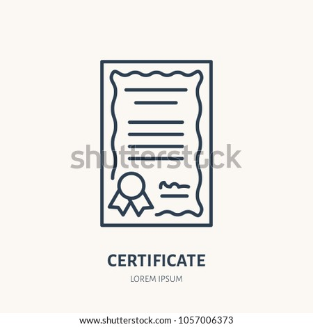 Certificate, patent vector flat line icon. Legal document sign.