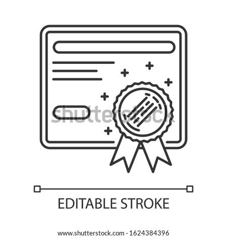 Certificate pixel perfect linear icon. Diploma. Graduation confirmation. Academic document. Thin line customizable illustration. Contour symbol. Vector isolated outline drawing. Editable stroke