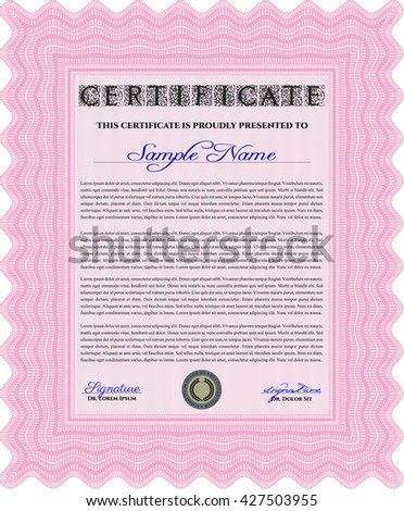 Certificate. Printer friendly. Complex design. Detailed. Pink color.