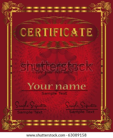 Certificate red gold vector template