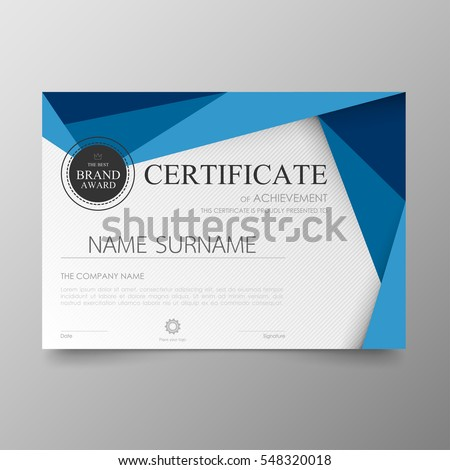 Certificate template awards diploma background vector modern value design and luxurious layout.  leaflet cover elegant horizontal Illustration in A4 size pattern.