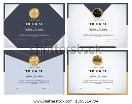 Certificate template Background Collection Set. Award diploma design blank. Vector Illustration EPS10