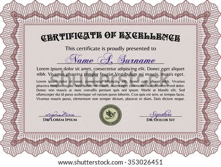 Certificate template. Border, frame.With linear background. Complex design.