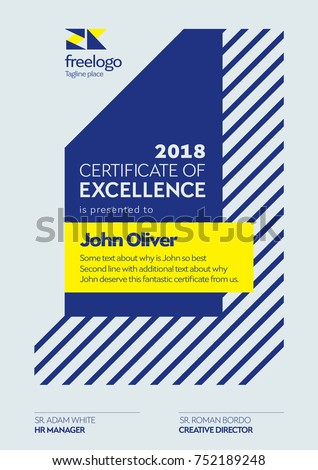 Certificate Template. Certificate of Excellence Design. Graduation Diploma Design Vertical Page.