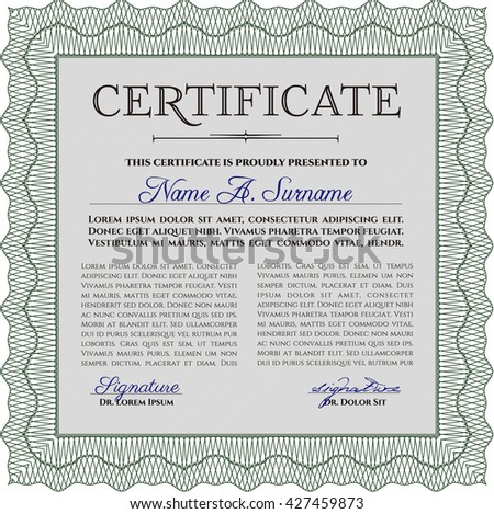 Certificate template. Customizable, Easy to edit and change colors. Easy to print. Nice design. Green color.
