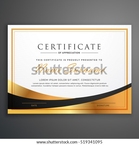 certificate template deisgn with golden wave