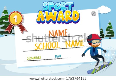 Certificate template design for sport award with man on snowboard illustration