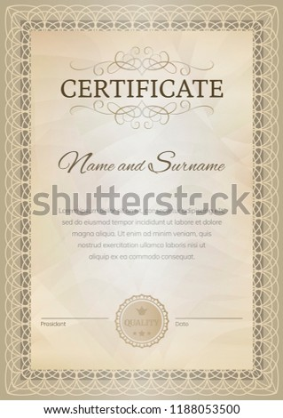 Certificate template design in beige tones. Award background. Vector illustration.