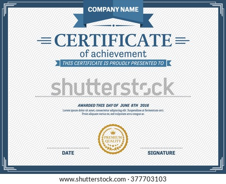 Modern blue certificate and award design template download free certificate template design of vector illustration yelopaper Choice Image