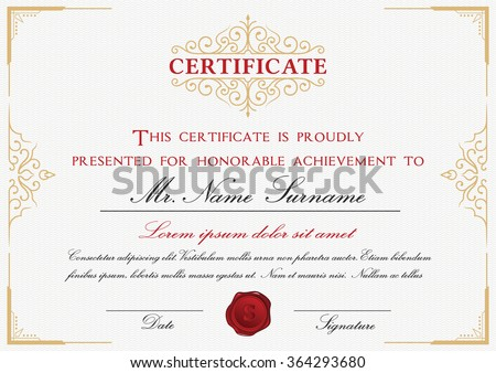 Certificate template design with emblem, flourish border on white background || A4 size +Bleed