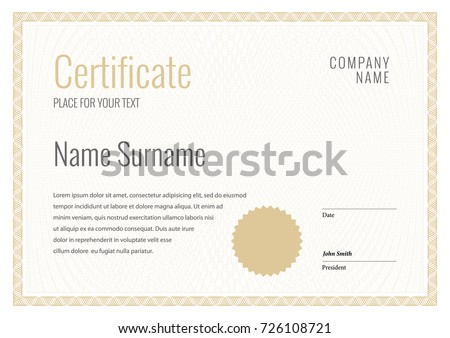 Certificate. Template diploma currency border. Award background Gift voucher. Vector illustration.