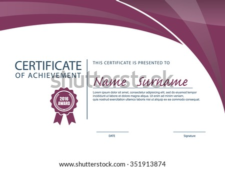 Royaltyfree Horizontal certificate template 500632792 – Certificate Layout