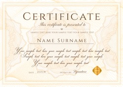 Certificate template. Formal border Guilloche pattern for Diploma, deed, certificate of appreciation, achievement, completion,warranty, attendance, award plaque design. Vector security curves