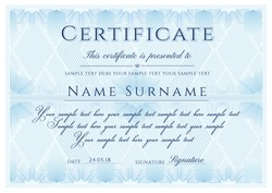 Certificate template. Formal border Guilloche pattern for Diploma, deed, certificate of appreciation, achievement, completion,warranty, attendance, award design. Vector security curves