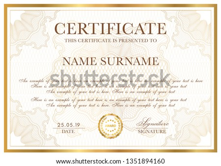 Certificate template. Gold border with Guilloche pattern for Diploma, deed, certificate of appreciation, achievement, any award design