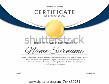 Certificate template in elegant black and blue colors with golden medal. Certificate of appreciation, award diploma design template. Vector