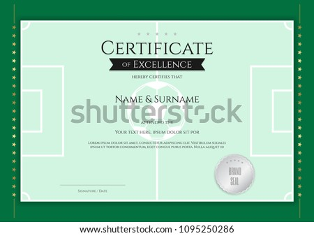 Certificate Template In Football Sport Theme With Green Field Border Frame,  Diploma Design