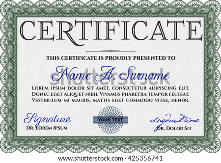 Certificate template. Nice design. Customizable, Easy to edit and change colors. Easy to print. Green color.