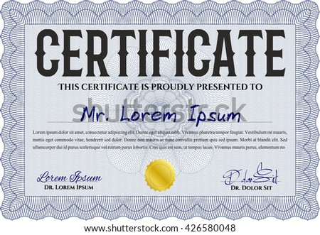 Certificate template. Nice design. Detailed. Printer friendly. Blue color.