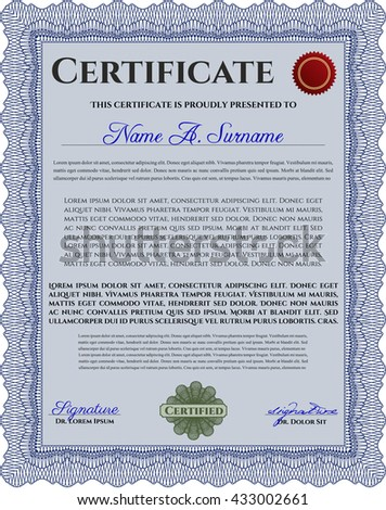 Certificate template. Nice design. Easy to print. Customizable, Easy to edit and change colors. Blue color.
