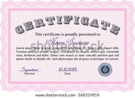Certificate template or diploma template. Artistry design. Frame certificate template Vector.Printer friendly.