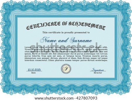 Certificate template or diploma template. Complex background. Beauty design. Vector pattern that is used in currency and diplomas.Light blue color.