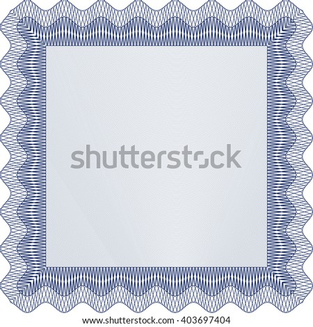 Certificate template or diploma template. Complex background. Superior design. Vector pattern that is used in currency and diplomas.Blue color.