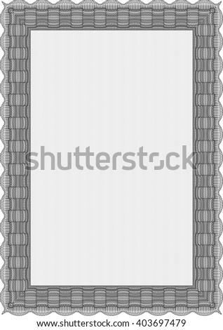 Certificate template or diploma template. Complex background. Superior design. Vector pattern that is used in currency and diplomas.Grey color.