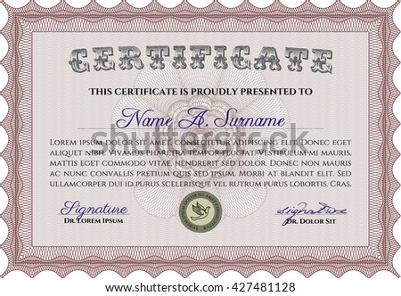 Certificate template or diploma template. Complex background. Superior design. Vector pattern that is used in currency and diplomas.Red color.