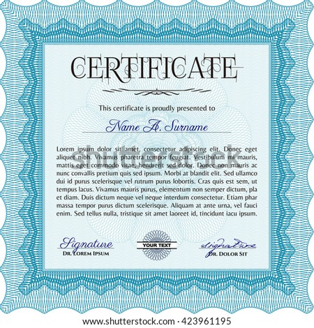 Certificate template or diploma template. Complex background. Vector pattern that is used in currency and diplomas.Beauty design. Light blue color.