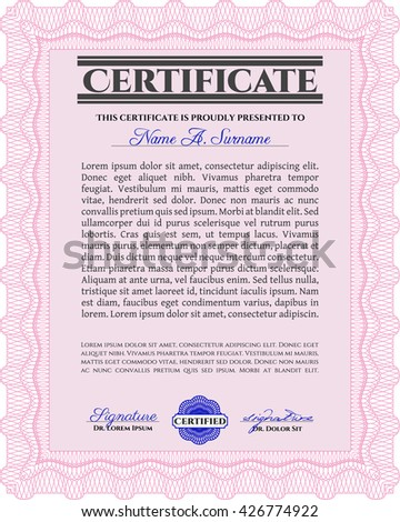 Certificate template or diploma template. Complex background. Vector pattern that is used in currency and diplomas.Superior design. Pink color.