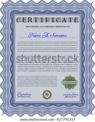 Certificate template or diploma template. Complex background. Vector pattern that is used in currency and diplomas.Superior design. Blue color.
