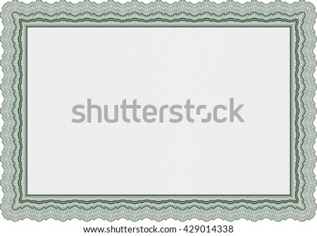 Certificate template or diploma template. Complex background. Vector pattern that is used in currency and diplomas.Beauty design. Green color.