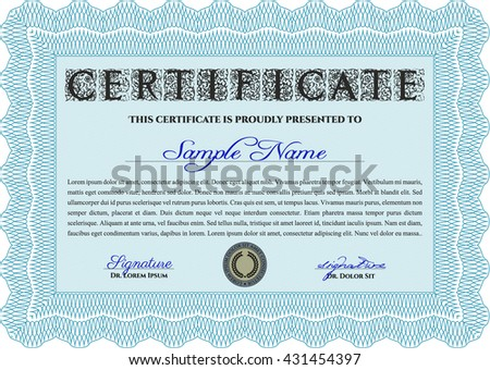Certificate template or diploma template. Complex background. Vector pattern that is used in currency and diplomas.Superior design. Light blue color.