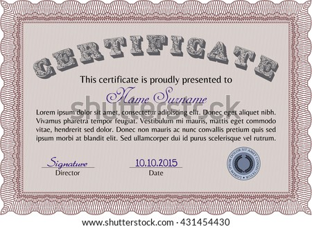 Certificate template or diploma template. Complex background. Vector pattern that is used in currency and diplomas.Superior design. Red color.