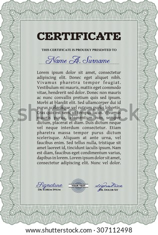 Certificate template or diploma template. Elegant design. With linear background. Frame certificate template Vector.