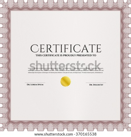 Certificate template or diploma template. Lovely design. Diploma of completion.With linear background.